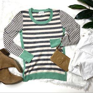 Olive & Oak Striped Long Sleeve Sweater Grey S